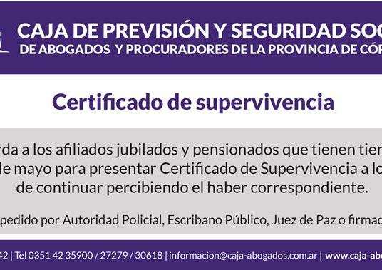 Certificado de Supervivencia