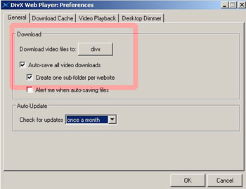 divx player configurar descargas
