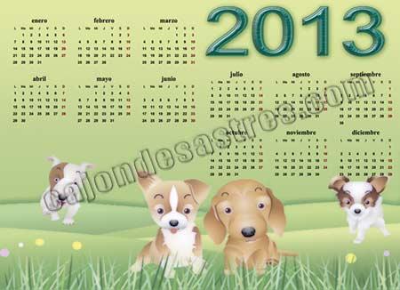 calendario 2013 fondo verde con animales