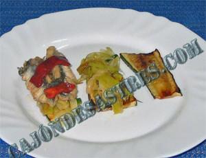 receta de lomos sardina sobre cama de verduras
