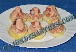 Receta de patatas asadas con pulpo  y atun