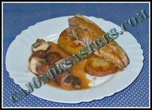 receta de lomos de caballa con champiñones en salsa