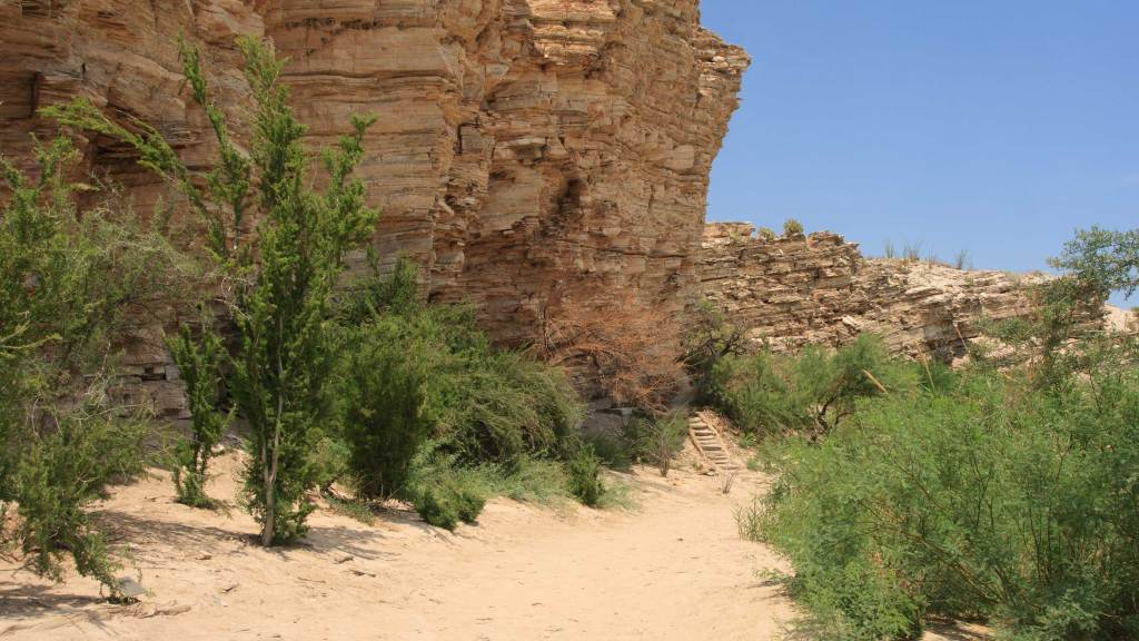 The sandy path follows the cliff walls to the Hot Spring. Look for the pictographs on the walls during the hike.