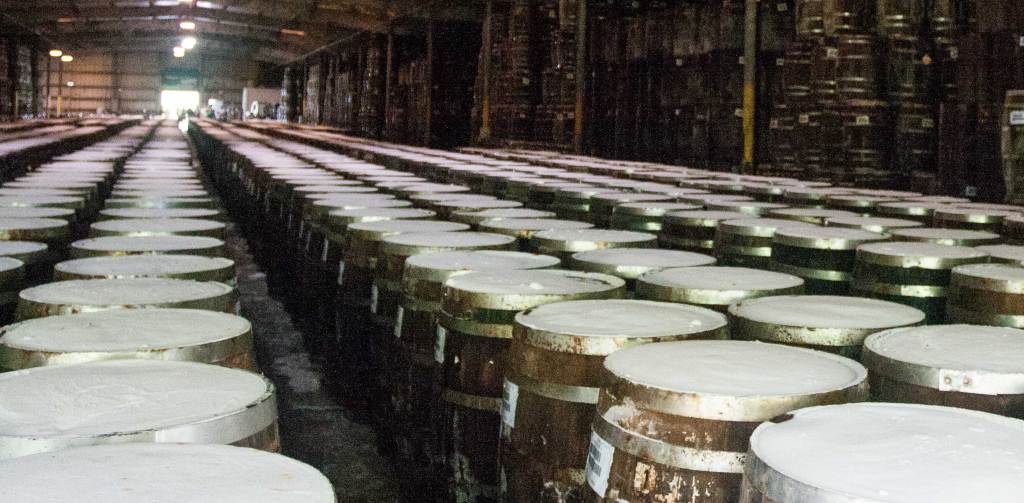 Used, but refurbished, wooden whiskey barrels are filled with Tabasco pepper mash. As the pepper mash ferments, the salt on top of the barrels allows gasses to escape, and over time, the salt forms a salt plug to seal and protect the product.