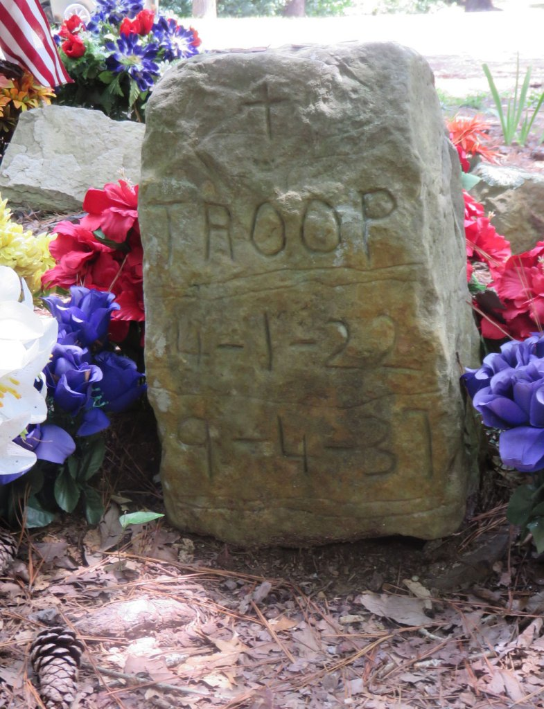 Key Underwood buried Troop in 1937, the first dog to be buried on this plot of land. The headstone was chiseled with hammer and screwdriver in honor of his legendary coon dog.