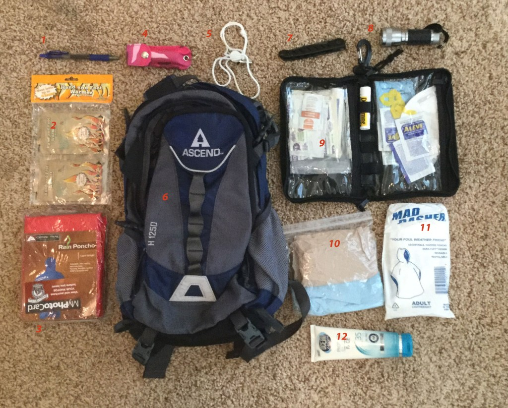 Tricia's back pack and current inventory.