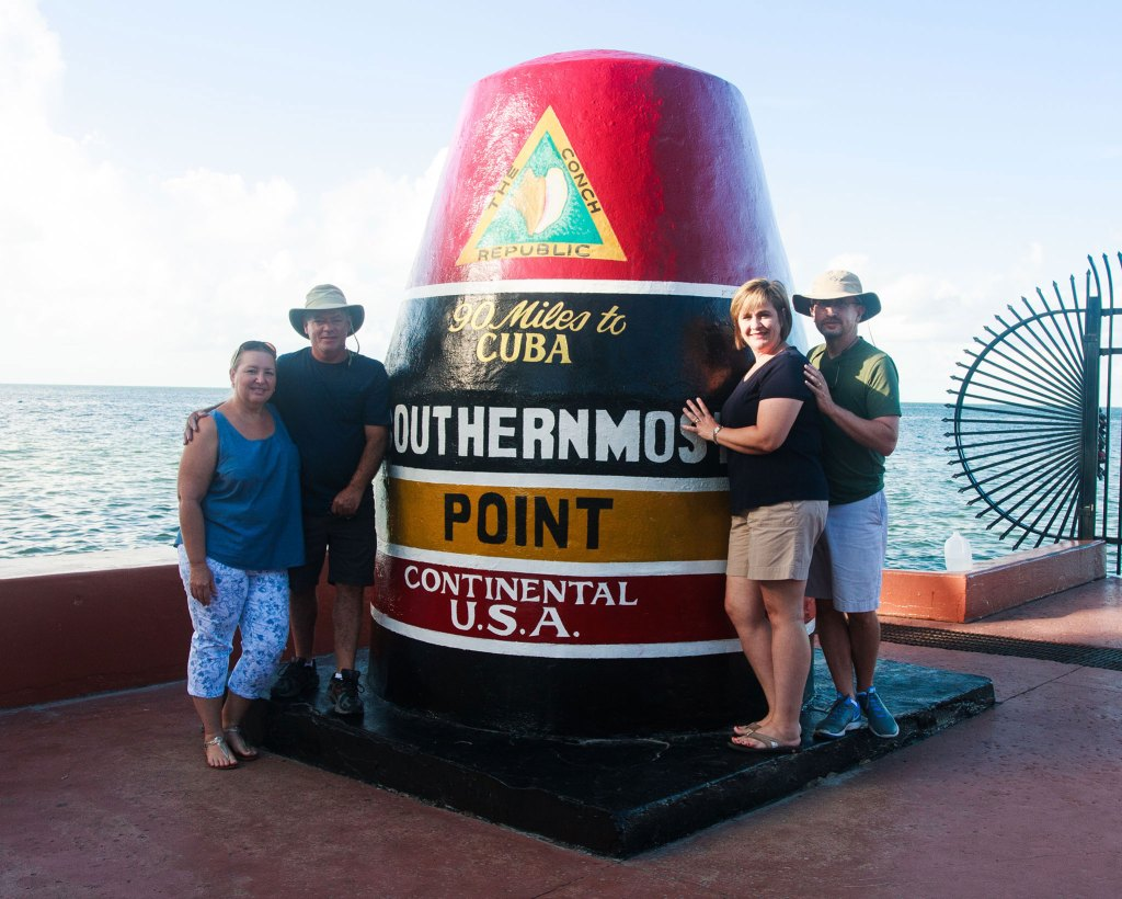 "We also did the tourist thing; posing by the ""Southernmost Point in the Continental USA""."