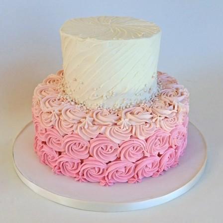 White Amp Pink Ombre Rosette Cake Cake Amp Bake Kiwi