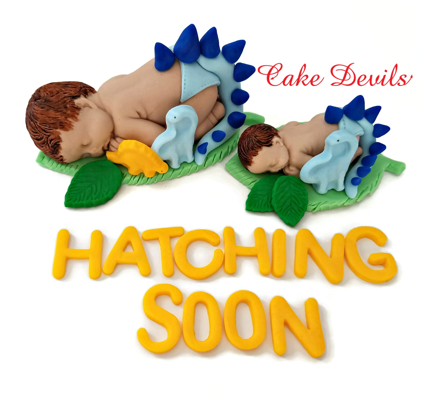 Dinosaur Baby Shower Cake Topper Fondant Sleeping Baby