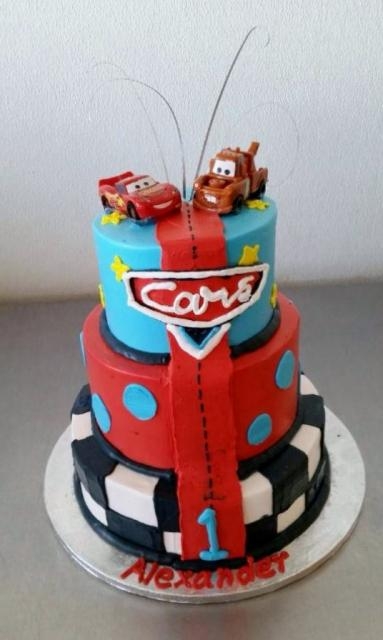 Three Tier Cars Cake With Lightnight Mcqueen Amp Mater On