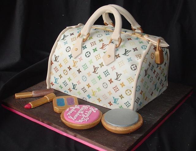 Louis Vuitton Handbag Birthday Cake With Lipstick And