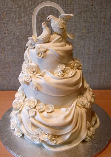 Doves And White Drapes 3 Tier Wedding CakeJPG 11 Comments