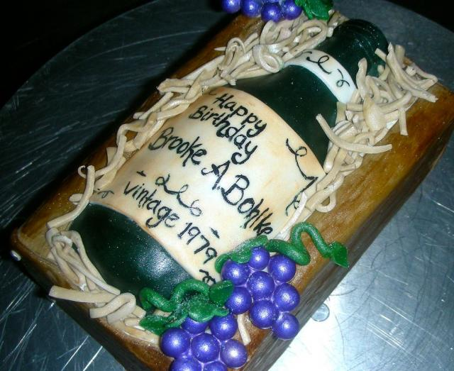 Wine Bottle With Grape Vines Birthday Cake Jpg Hi Res 720p Hd