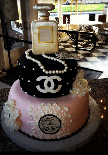 Beautiful Pink And Black Chanel Cake With Chanel Perfume