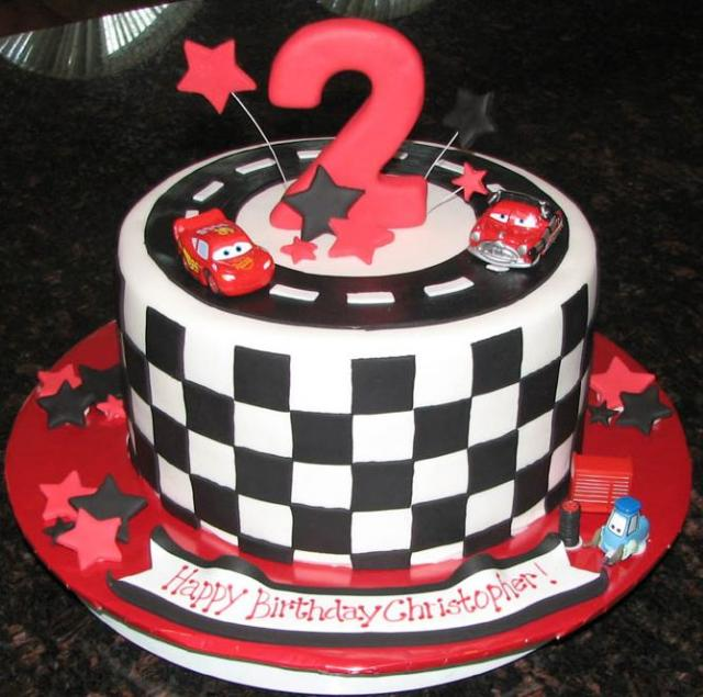 Cars Theme Checker Flag Birthday Cake For 2 Year OldJPG 2 Comments