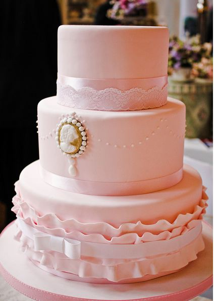Three Tier Pink Round Wedding Cake With Vintage LookJPG