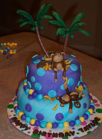 Two Tier Indigo And Blue Round Island Theme Birthday Cake
