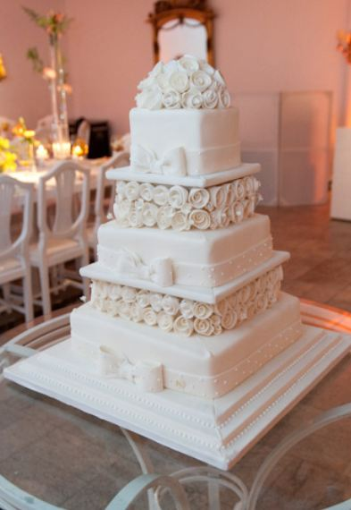 Five Tier Square Wedding Cake In White With Faux White
