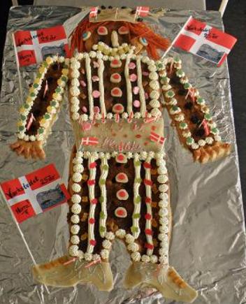 Viking Danish Kagemand With Fancy Cake Decor With Cake