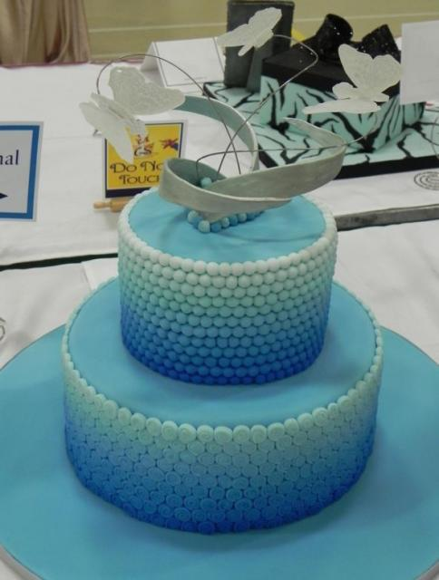 Two Tier Aqua Theme Round Cake With Pearl Beads And