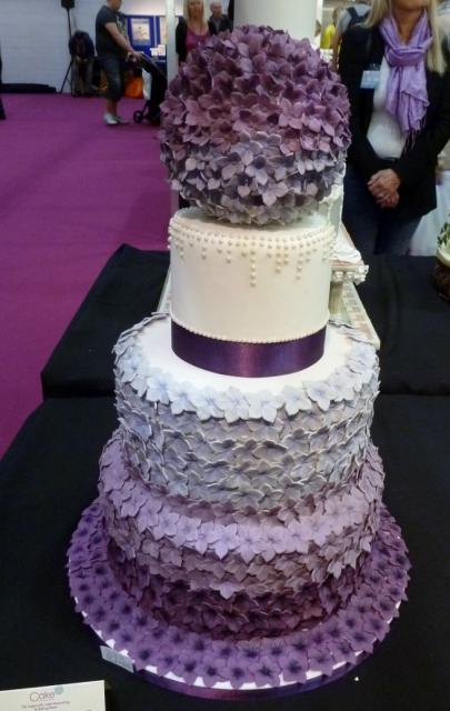 3 Tier Wedding Cake With Purple Flower Globe TopperJPG Hi