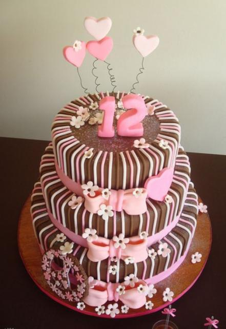 Three Tier Chocolate Birthday Cake With Pink 12 And Hearts