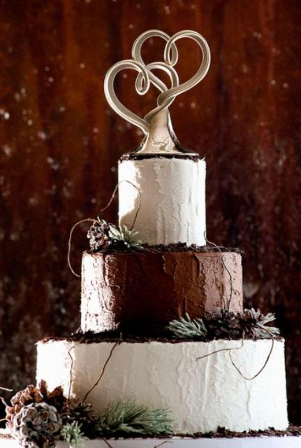 3 Tier Round Wedding Cake With Modern Dual Heart Sculpture