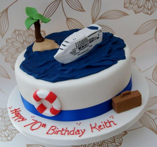 White Cruise Ship Theme 70th Birthday Cake Jpg 1 Comment
