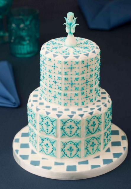 Double Tier Wedding Cake With Turquoise Patterns And