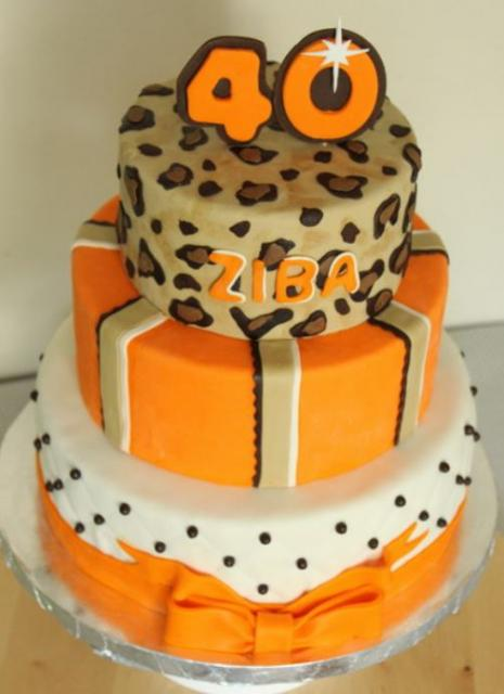 Three Tier Orange And White 40th Birthday Cake With Cougar