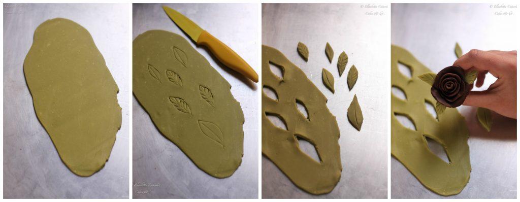 Il cioccolato plastico l'alternativa alla pasta di zucchero, creazione foglie
