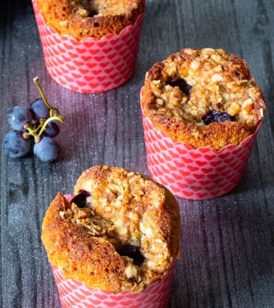 Muffins mascarpone uva fragola noci