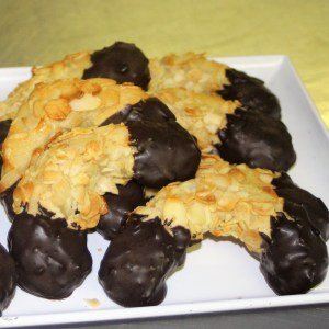almond marzipan crescents, chocolate dipped