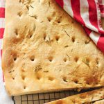 Focaccia Bread, homemade with rosemary, olive oil and sea salt