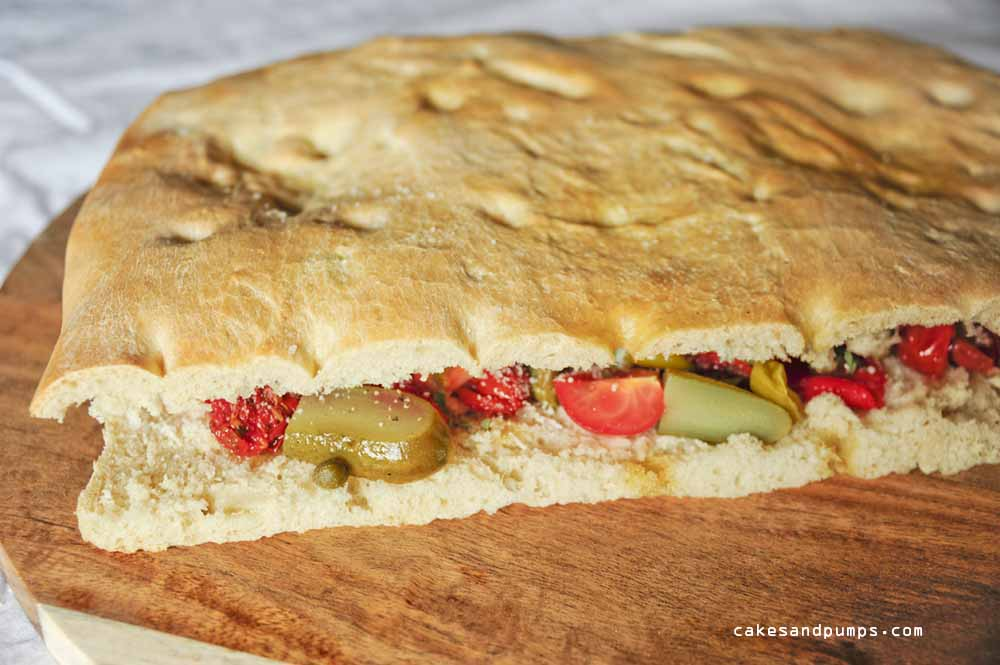 homemade Focaccia sandwich with vegetables