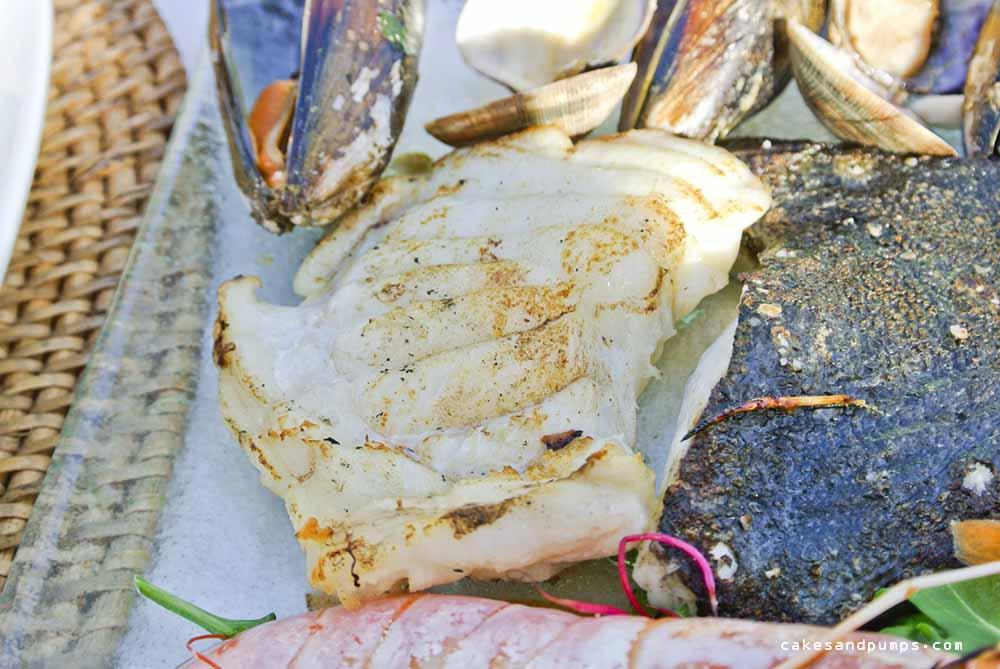 Close-up van de vis bij restaurant Elements