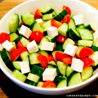 Easy salad with cucumber feta tomatoes