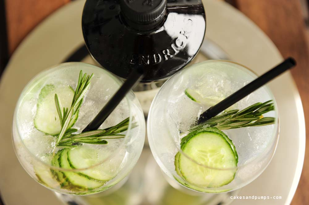 Gin tonic closeup with Hendricks gin