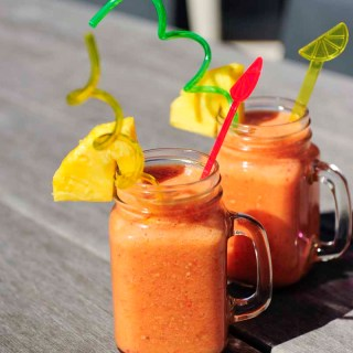 Mango Pineapple strawberry smoothie