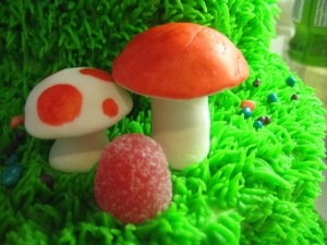 fondant mushrooms with gumdrop