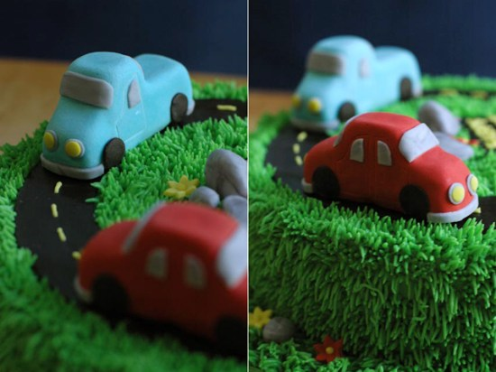 A close up of a car birthday cake