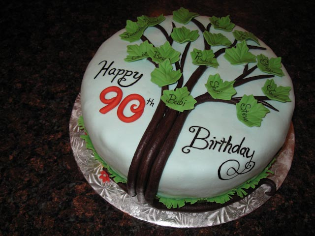 Happy 90th Birthday A Family Tree Cake