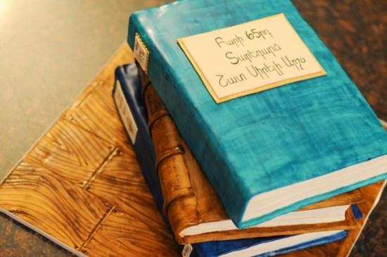 Stacked Birthday Book Cake close up