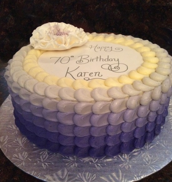 Purple Ombre Petal Effect 70th Birthday Cake Side View