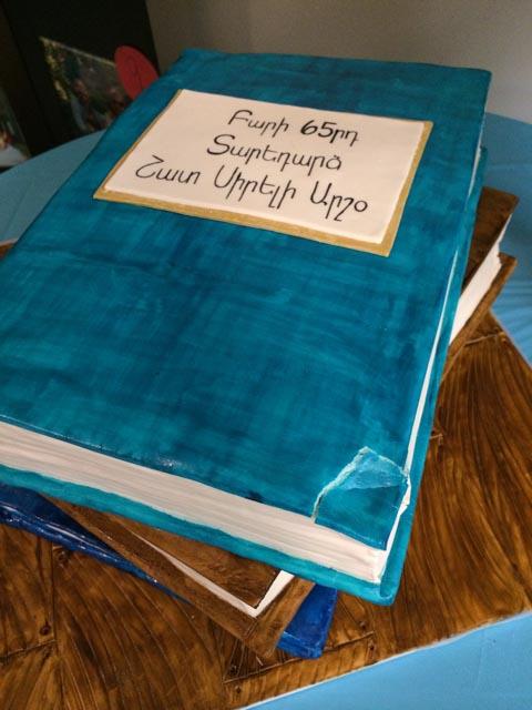 Stacked Birthday Book Cake with broken corner