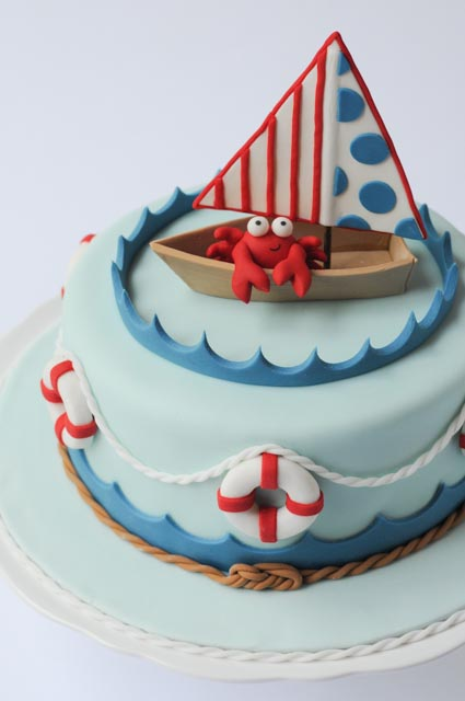 Nautical Baby Shower Cake Mid Close-up
