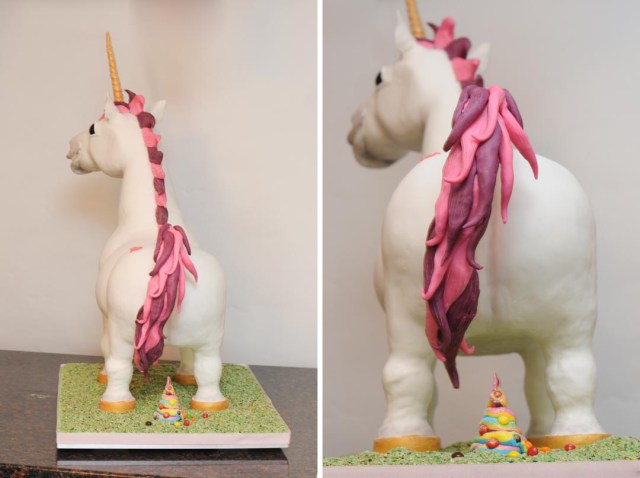 Butt and Skittle poop of a super awesome unicorn cake.