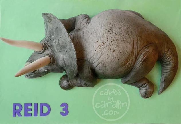 Realistic triceratops dinosaur cake.