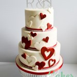 Red and Ivory Heart Cutout Wedding cake Diamante Monogram