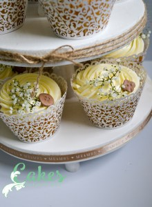 Vintage Button Buttercream Wedding Cupcake Tower
